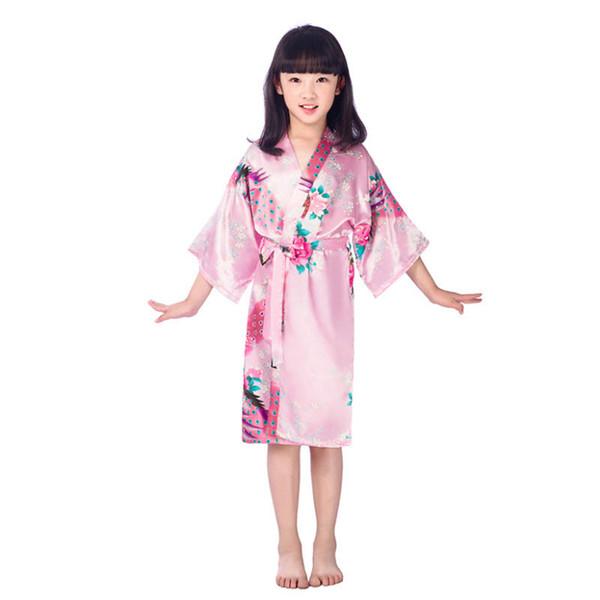 Toptan-Saten Çiçek Uzun Elbiseler Çocuk Banyo Robe Pijama Nedime / Gelin Saten Elbiseler Kızlar Ipek Kimono Robe Pijama Partisi Için