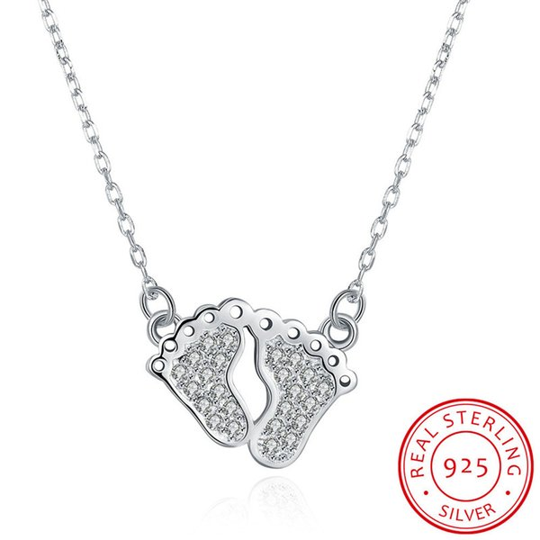 Sparkling Pave Setting Baby's Feet Pendant Link Chain 925 Sterling Silver Necklace for Gift Free Shipping