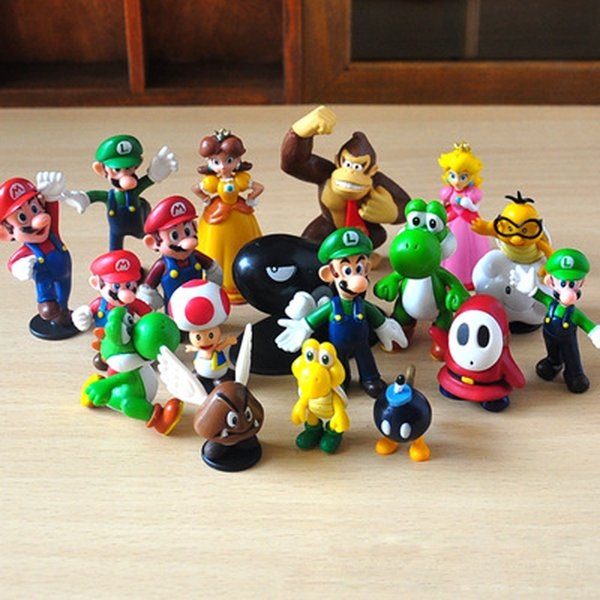 "Mini Cute Figures 3.5cm-6cm 1""-2.5"" 2.5inch 2.5"" PVC Super Mario Bros Figurine Action Toy Doll For Kids"