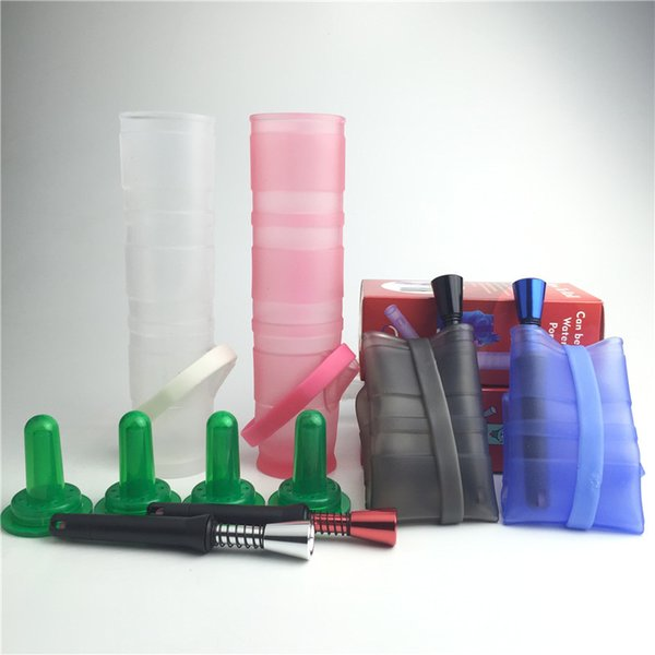 hot mini oil rig glass bong with 5 piece- set colorful folded silicone oil rig easy to carry for smoking