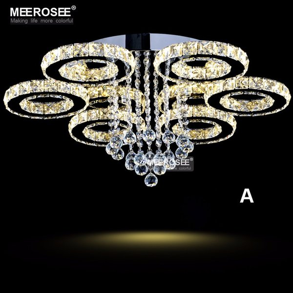 Modern LED Chandeliers Light Stainless steel Crystal Lamp for Living Bedroom Diamond Ring LED Lustres Chrome Chandelier Lighting