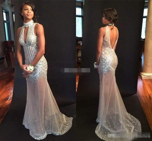 2017 Luxury Beaded Crystal Prom Dresses High Neck Sexy Backless Illusion Body Mermaid Evening Gowns Bling Pageant Gown Custom Made