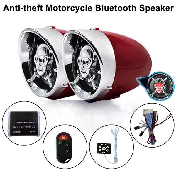 best selling 2.5 inch Skull Motorcycle Bluetooth Audio Stereo Amplifier Anti-theft Alarm Speaker Car FM Radio Hi-Fi Sound MP3 USB Phone Charge