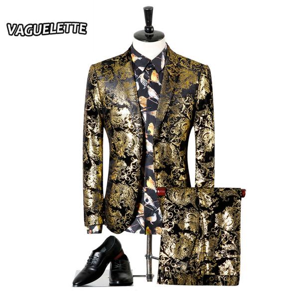 Gros- hommes de mariage Costume d'or Tuxedo Paisley Flores Mens Stage Porter pour le chanteur Slim Fit Sknniy Homme Costume avec un pantalon 3XL (Blazer + pantalon)