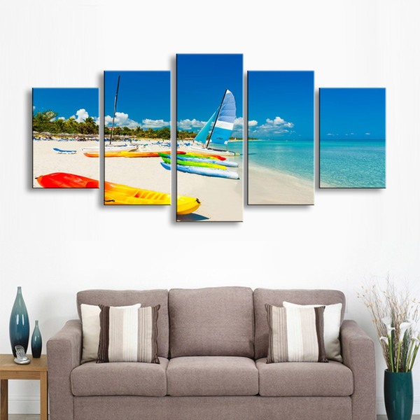5 pieces high-definition print beach sea boat canvas painting poster and wall art living room picture PL5-182