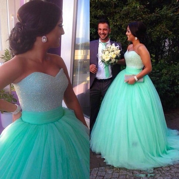 Pageant prom dress 2018 Mint Green Lace Long Quinceanera sequined bra tops mint sweetheart evening dress glittering dress