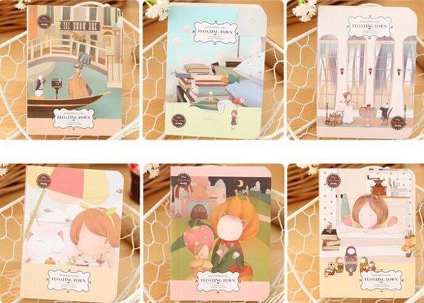 Wholesale- 1 Pieces New Korean Stationery Cute Cartoon Kawaii Hand Painted Palm-sized Planktonic Town Thick Notepad Notebook Student Gift
