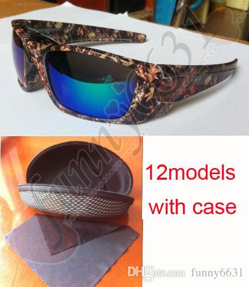 MOQ=10SET Newest Camo Brand Designer Sunglasses Mossyoak Realtree sun glasses Eyewear Sun glass frame camouflage sunglasses with zipper case
