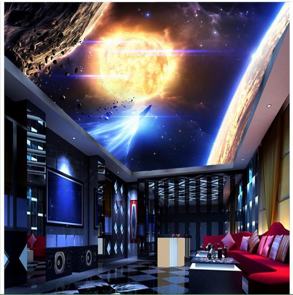 High Quality Custom 3d Ceiling Wallpaper Murals Wall Paper Solar System Star Ceiling Murals Wall Living Room Decor Free Screensavers And Wallpaper