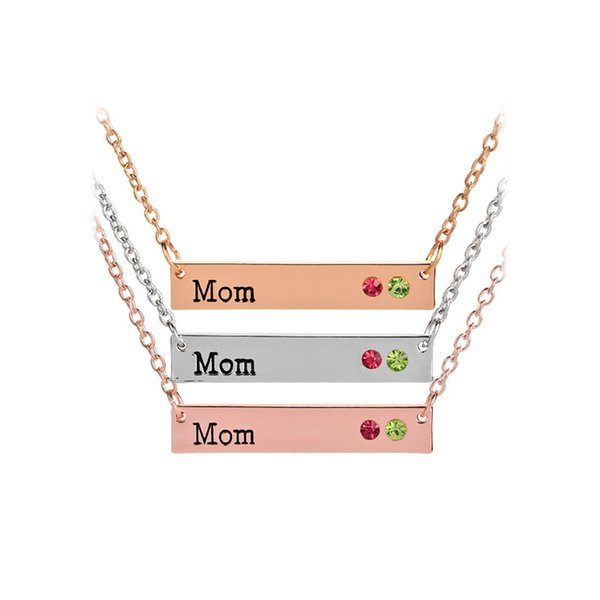 Acheter Fête Des Mères Meilleur Cadeau Maman Maman Nana Membre De La Famille Collier Lettre Pendentif Pierre De Naissance Pendentif En Cristal Strass