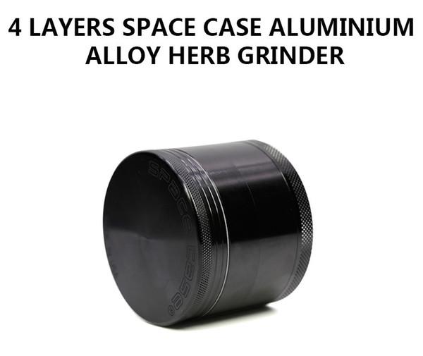Diametro 55MM Herb Grinder Lega di alluminio SPACE CASE Tobacco Crusher Spacecase Nero Color shredder hand muller