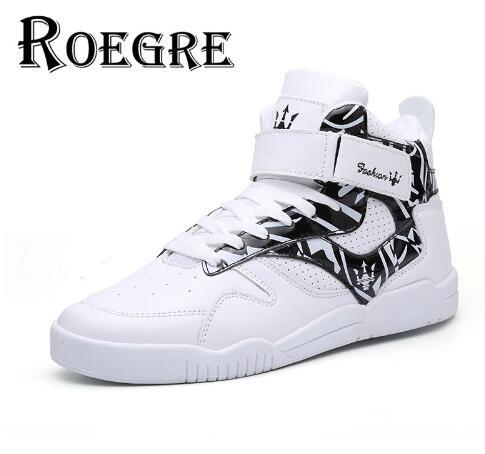 ROEGRE New Design Spring 2017 High Top Men Shoes com fivela respirável Men Casual Trainers Shoes Ankle Boots Black White, size39-45