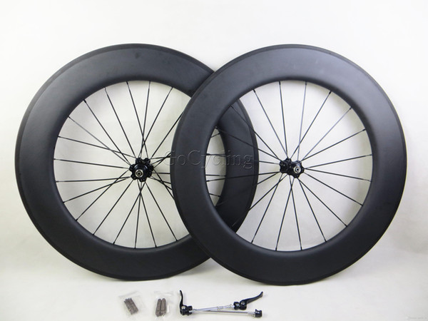Carbon bicycle wheels 90mm 3K matt no decals sticker basalt brake surface clincher tubular road cycling bike wheelset with novatec hubs