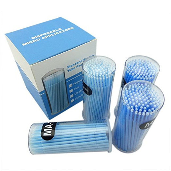 Mismxc 400pcs Blue Regular Size 3mm Disposable Mascara Applicator Individual Eyelash Extension Microbrushes Makeup Brush