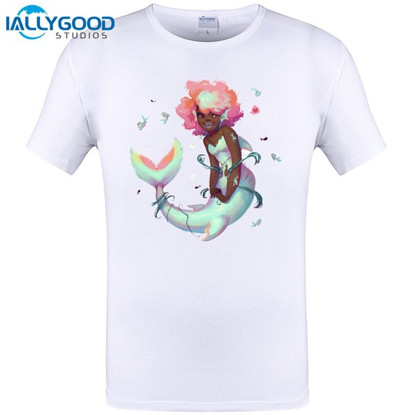 Cute Mermie Design Mens T Shirt Summer Short Sleeve Tops Funny Hipster Hip Hop Tee Shirts Brand Clothing Plus Size S-6XL