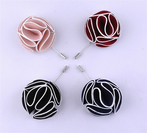 Handmade Flower Boutonniere Stick Brooch Pin Mens Accessories Men Lapel Pin Brooch Flower Suit 6 colors high quality