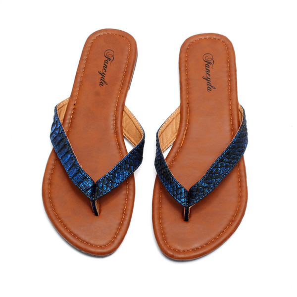 Plus Size 5-10 Summer Style Shoes Women Sandals Good Quality Snake Fashion Casual Solid Slippers Flip Flops wholesale shoes