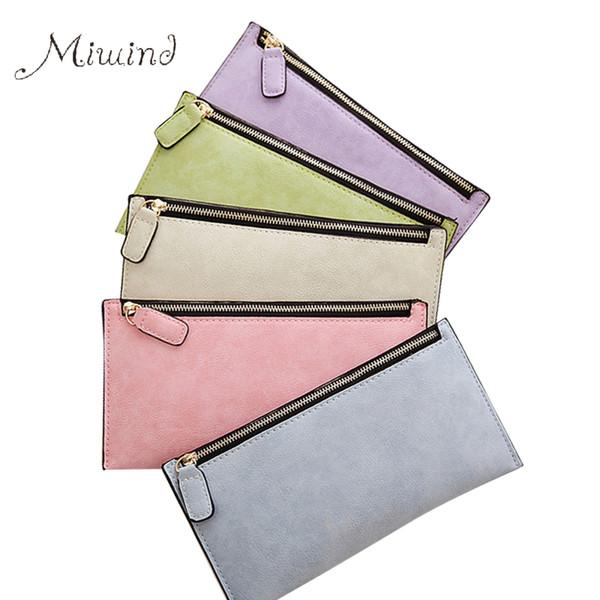 Wholesale- Luxury Leather Zipper Women Long Slim Wallet Ladies Handbag Clutch Card Money Coin Phone Holder Portomonee Female Wristlet Clip