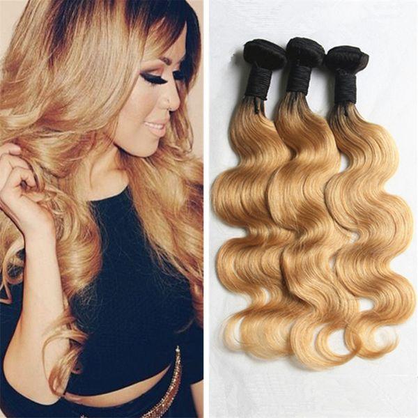 Honey Blonde Dark Roots Ombre Virgin Hair Weaves Two Tone 1b 27 Ombre Body Wave Human Hair 3 Bundles Malaysian Blonde Hair Hair Weave Styles Black