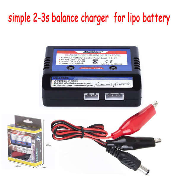 1pc LK-1008D charger simple 2-3S Balance Charger For 7.4V-11.V Li-PO Battery 2S 3S Cells RC Drone battery helicopter parts