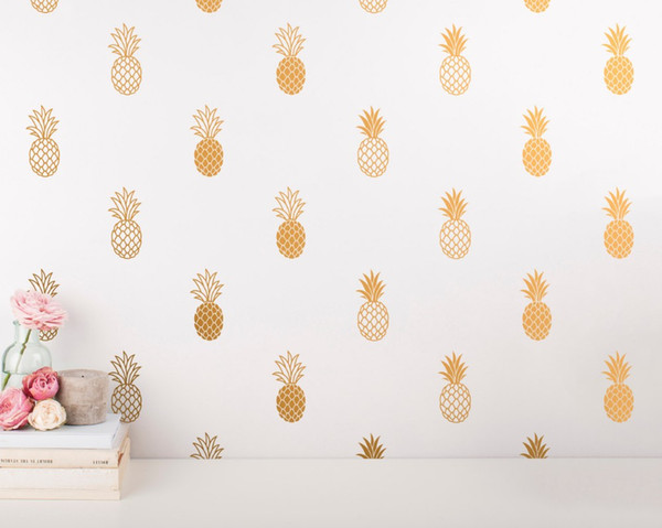 24pcs/set Pineapple Wall Decal Large Pineapples Wall Sticker for Kids Room Home decor Party Decor Nursery Wall Decal mural wallpaper D-986
