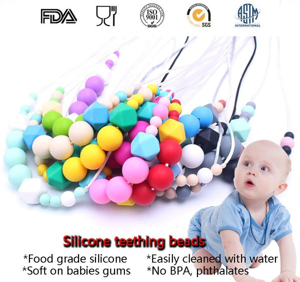 70CM 100% BPA Free Food Grade DIY Silicone Baby Chew Beads Teething Necklace Wholesale Nursing Jewelry Teether for Mom Mommy to Wear