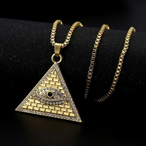 Nuovi arrivi Hip Hop placcato oro piramide egiziana Illuminati Eye Of Horus ciondolo collana gioielli di moda per uomini e donne