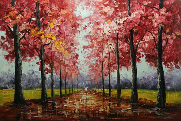 Framed Hot Sell 100% Hand Painted Thick Oil Color Palette Knife Abstract Landscape Oil painting Modern Living Room Home Decor Canvas DH026
