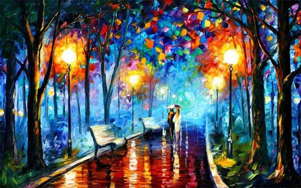 Emoldurado enorme de alta qualidade pintado à mão chuva caminhada casal Pinturas Arte abstrata petróleo parede Deco moderna na lona multi Tamanhos frete grátis R59