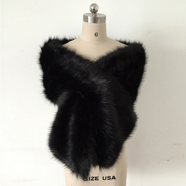 65x13 inches Cheap Black Faux Fur Winter Bridal Wrap Wedding Evening Prom Party Shrug Shawl Cape Bolero Free Size