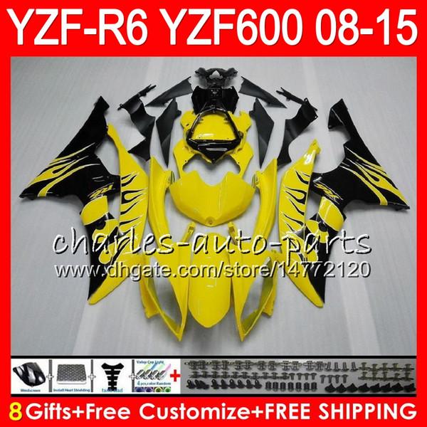 Кузов Для YAMAHA YZF600 YZFR6 08 09 10 11 12 15 YZF-R600 60HM3 черный огонь R 6 YZF 600 YZF-R6 YZF R6 2008 2009 2010 2011 2012 2015 Обтекатель