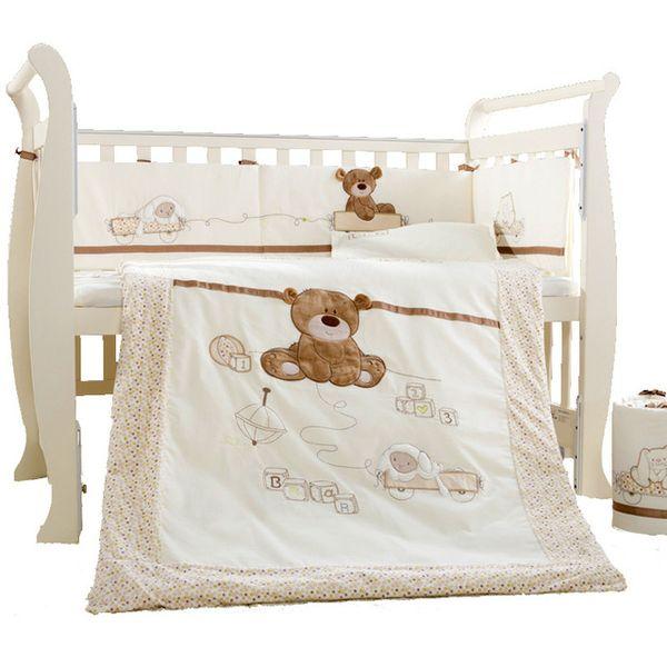 9Pcs/Set Cotton Baby Cot Bedding Set Newborn Crib Bedding Detachable Quilt Pillow Bumpers Sheet Cot Bed Linen 4 Size