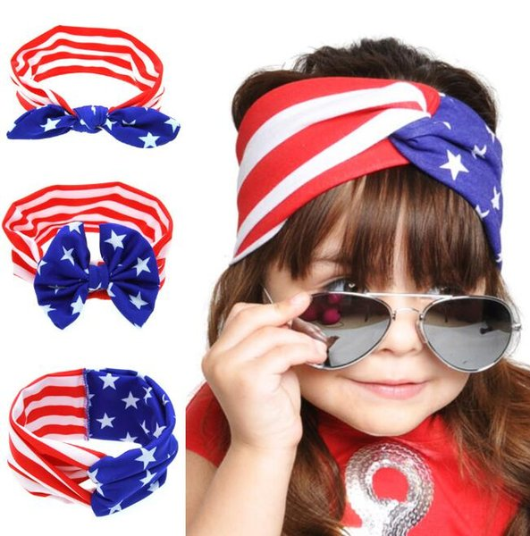 top popular Baby American Flag euro stars stripe bowknot Headbands 3 Design Girls Lovely Cute Bow Hair Band Headwrap Children Elastic Accessories 2019