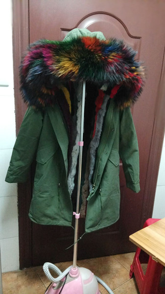 best selling Jazzevar brand Live pictures Rainbow fur trim green jackets 100% multicolour rabbit fur lined long parka snow army green canvas coats