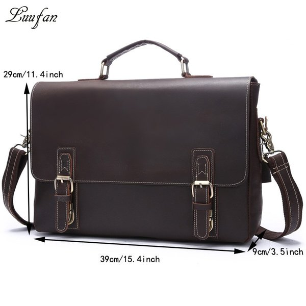 Wholesale- Vintage leather business bag Brown men's crazy horse Leather briefcase Laptop cow leather Handbags work tote bag Free shipping
