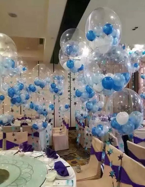 best selling 24 Inch Clear Foil Helium Air Balloons Creative Bobo Balloons Wedding Shower XMAS New Year Birthday Party Decor transparent baloons kids toy