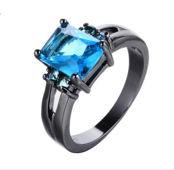 Unique Bleu Clair Zircon Pierre Finger Rings Pour Femmes Hommes Noir Or Rempli De Mariage Cocktail Bague De Mode Bijoux
