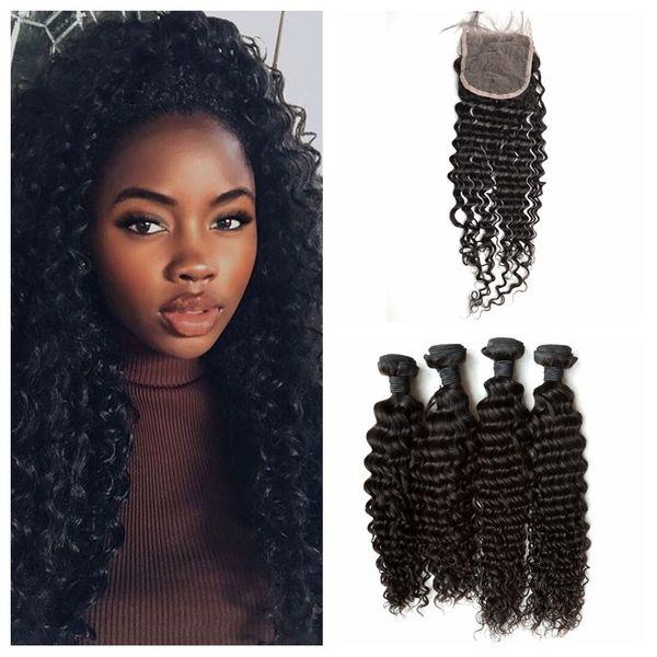 G-EASY Deep Curly Human Hair With Closure 5pcs Lot Virgin Peruvian Body Wave Lace Closure Bundles Natural Black