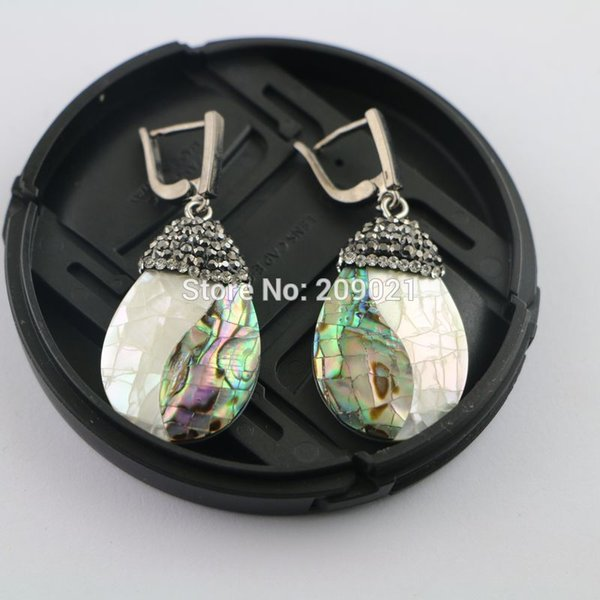 Fashion Style~ 5pair Shell Pave Rhinestone Drop Earrings Charms Jewelry Finding For Women