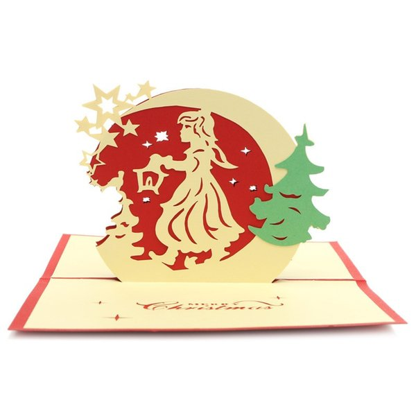 Wholesale-2Pcs Pop Up Invitations Greeting Cards 3D Luxury Handmade Merry Christmas Party Postcards Xmas Tree Paper Festival Gifts
