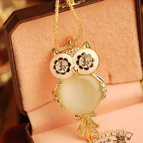 Gold-Tone Big Eye Owl Pendant Design Long Necklace Fashion Austrian Crystal Gem Hollow Owl Sweater Chain For Women Dress Jewelry