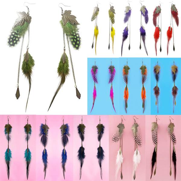 Feather Earrings 12 Colors wholesale lots Bronze Leaf Charm Chain Light Dangle Eardrop ( Teal Brown Blue Orange Yellow Green Purple )(JF297)