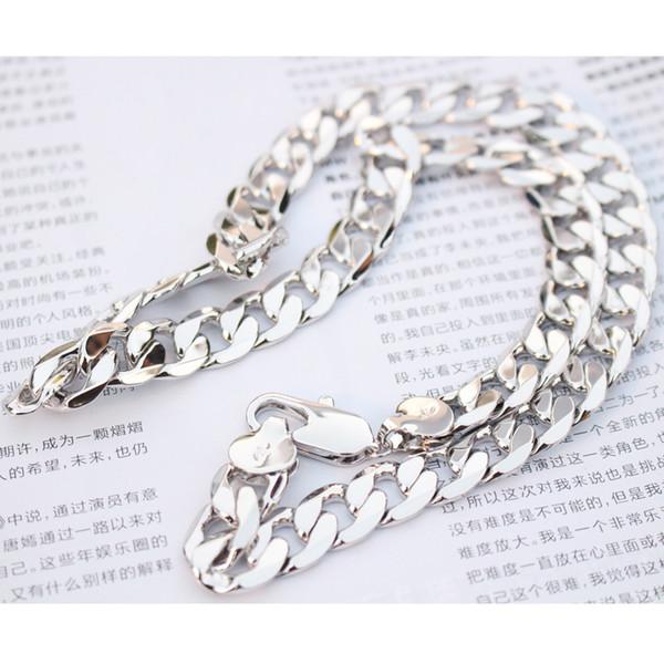 Pesada cadena 24 K oro blanco lleno de hombres collar de eslabones de bordillo joyería 23.6 pulgadas 12 mm (tamaño: 23.6