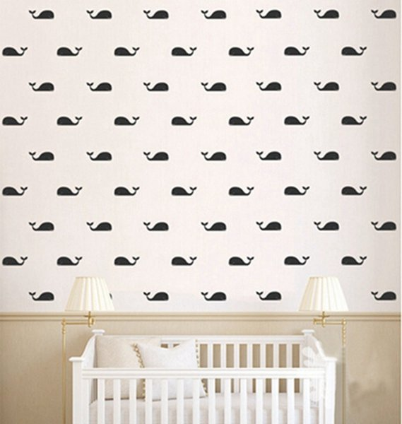 2017 New 30pcs/set Whale Wall Decal Fish Whales Wall Sticker , Cartoon Marine style DIY Decoration Wall Art Stickers for Kids Rooms