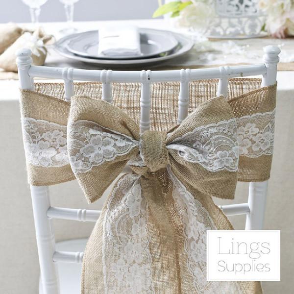 Telai per sedie vintage Telai per sedie in pizzo di lino per banchetti nuziali Coperture per sedie brevi Decorazioni per matrimoni Classici fiocchi di telai gialli