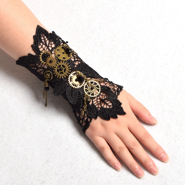 top popular 1pc Vintage Women Steampunk Gear Wrist Cuff Armbrand Bracelet Industrial Victorian Costume Cosplay Accessory High Quality 2021
