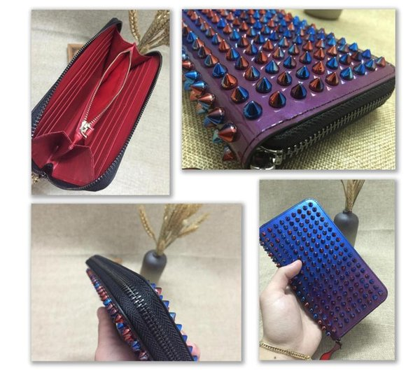 Mixed Color Rivets Wallet Genuine Leather Spike Purse Brand Designer Studded Clutch Lady's Fashion Rivets Purse with Zipper 10 Color