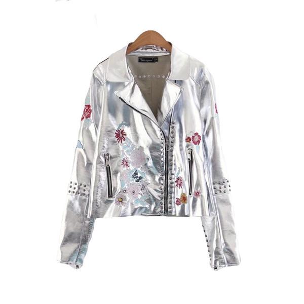 2017 новая мода заклепки цветочные вышивка с длинным рукавом женщины искусственной кожи карманы отложным воротником молния куртка