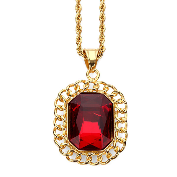 Fashion Women Men Charm Red Gem Pendant Necklace Filling Pieces Hip Hop Jewelry 18k Gold Plated Stainless Steel Personalized Design