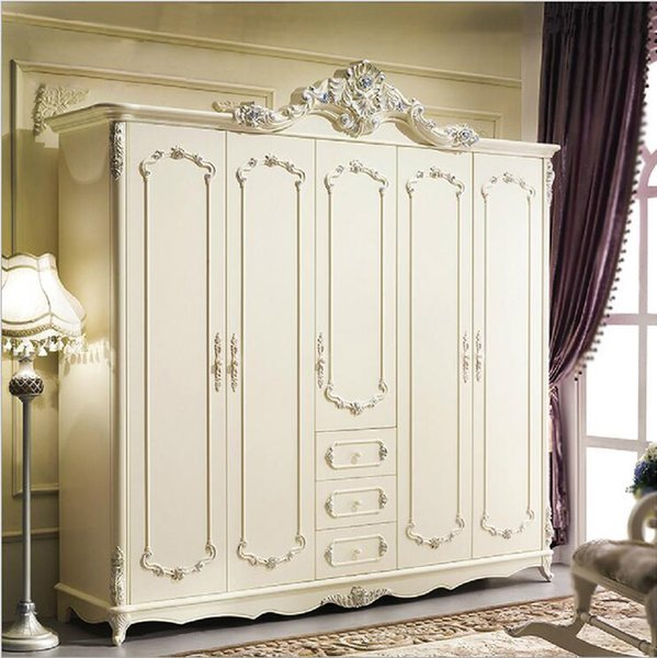 hot selling new arrival five door wardrobe modern European whole wardrobe French bedroom furniture wardrobe pfy10181